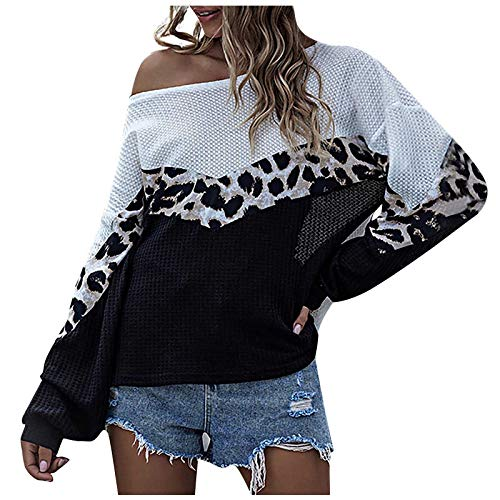 Women Leopard Print Knitting Tops Autumn Winter Fashion O-neck Splicing Long Sleeves Pullovers URIBAKE