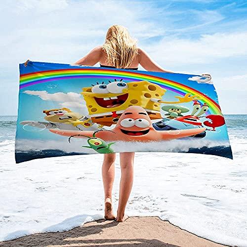 Proxiceen Toalla de playa de Bob Esponja para niños y adultos, 100% algodón, accesorio para piscina (A7,90 x 180 cm)
