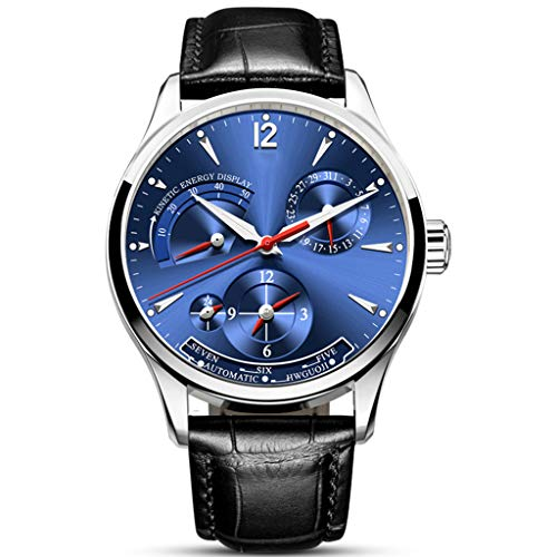 Carnival Orologio da Uomo Automatico Meccanico A Carica Automatica Display Energetico, 24 Ore Quadrante Impermeabile Orologi Blue