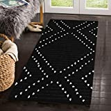 Uphome Cotton Area Rug Boho Hand-Woven Runner Rug Black and White Geometric Throw Rugs Chic Diamond Tribal Floor Mats Washable for House Bedroom Kitchen Living Room Indoor 2.3 x 5.3
