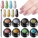 Kalolary 8 colores Esmalte de uñas de gel con purpurina + Pluma de pintura, 5ml Esmaltes Semipermanentes de Uñas en Gel UV LED, Diamond Brillo de Uñas