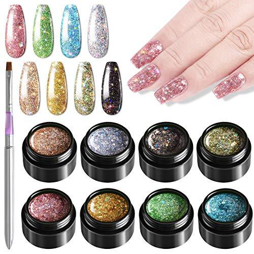 Kalolary 5ml 8 Colore UV Glitzer Gel Set mit 1 Pinsel, glänzender Diamant Nagellack UV LED Gel Glitzer Lack Serie Einweichen Nagellack Set per NailDesign