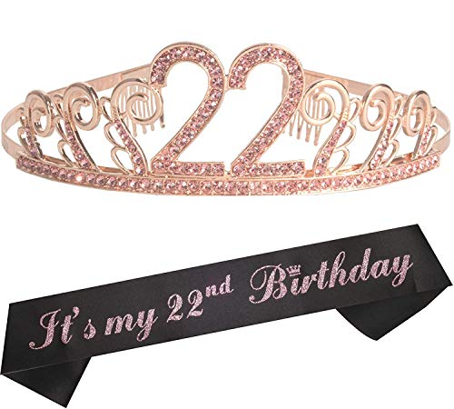 22nd Birthday Gifts for Woman, 22nd Birthday Tiara and Sash Pink, HAPPY 22nd Birthday Party Supplies, It's my 22nd Birthday Sash and Crystal Tiara Birthday Crown for 22nd Birthday Party Supplies