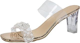 Geilisungren Damen Sandaletten Mode Sommer Dicke Ferse Sandalen Peep Toe Mules Bürodame Schuhe Pumps High Heel Keilabsatz ...