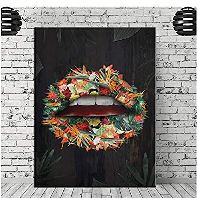 Direct Selling Modern Image Wall Art Graffiti Lips Canvas Painting Poster Home Decoration Print Room Canvas Print 60x80cm (Frameless)