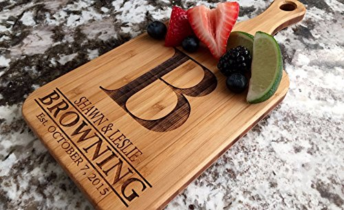 Personalized Engraved Cutting Board with Handle Housewarming and Wedding Gift for Kitchen (5 x 11 Bamboo Paddle Shaped, Browning Design)