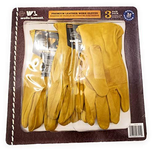 Wells Lamont Premium Leather Work Gloves 3 Pair Pack - Medium