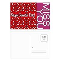 カナダ風味の幸せなカナダの日 ポストカードセットサンクスカード郵送側20個ミス