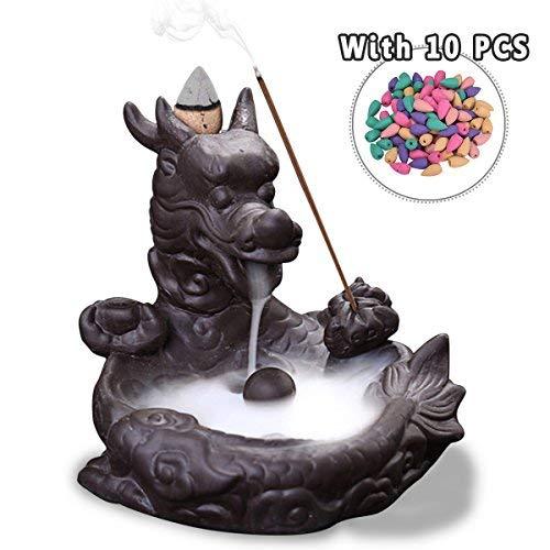 Jeteven Keramik Räucherstäbchenhalter Rückfluss Räuchergefäß Luftbefeuchter für Freies Kegel \'\'Dragon Lotus Pond\'\' Aromatherapie Räucherstäbchen Rückfluss Weihrauch, Schwarz (10,5x11x10cm)