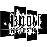 BOOM Headshot Gamer Wandbilder auf Leinwand besser als Poster - 100x60 cm 4-Teilig: Schwarz-weiss s