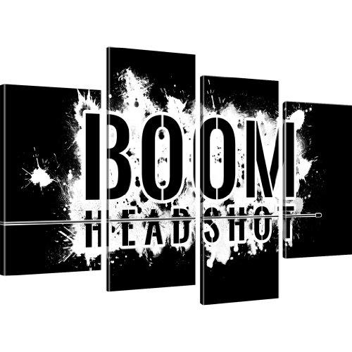 Kunstlab Boom Headshot Gamer Wandbilder auf Leinwand Besser als Poster - 100x60 cm 4-Teilig: Schwarz-Weiss s