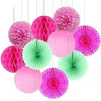 デコレーションパーティー 10個のピンクの紙の装飾セット紙のファンサークルハニカムボールランタンフラワーポンポンキッズ誕生日パーティー結婚式のシャワーの装飾