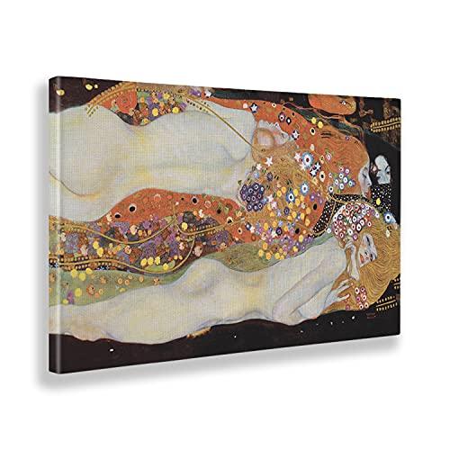 Giallobus - Cuadro - Gustav Klimt - Serpientes de Agua - Lienzo - 140x80 - Listo para Colgar - Cuadros Modernos para el hogar