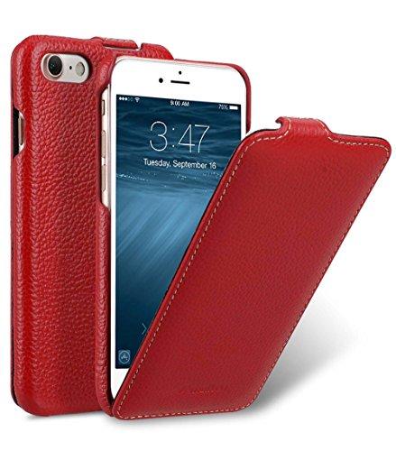 MELCKO Tasche passend für Apple iPhone SE 2020, iPhone 8 und iPhone 7 (4.7 Zoll), Case Außenseite aus beschichtetem Leder, Schutz-Hülle aufklappbar, Flip-Case, Ultra-Slim Cover, Etui, Rot