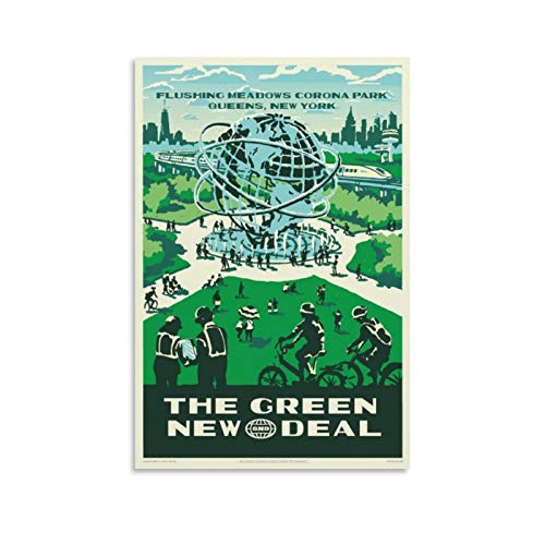 CHUNLV Vintage The Green New Deal Corona Park New York Poster Decorative Painting Canvas Wall Art Living Room Posters Bedroom Painting 12x18inch(30x45cm), Unframe-style1