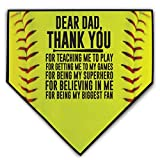 ChalkTalkSPORTS Softball Stitches Home Plate Plaque | Your Message to Dad | Ready to Autograph Dear Dad Singular
