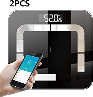 Báscula De Grasa Corporal Bluetooth Inteligente Báscula De Peso Digital Para Baño LCD Equilibrio Corporal Pesaje De IMC Humano Con Aplicación De Teléfono Inteligente Apto Para Android O IOS 2Piezas