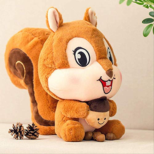 Nette großschwanzige Eichhörnchen-Puppe zum Schlafen mit Kind-Schnuller Super Plüschtierkissen Mädchen braun 25cm a Laimi (Color : A, Size : 35CM)