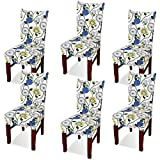 Argstar 6 Pack Chair Covers, Stretch Armless Chair Slipcover for Dining Room Seat Cushion, Spandex Kitchen Parson Chair Protector Cover, Removable & Washable, White Spring Flower Design
