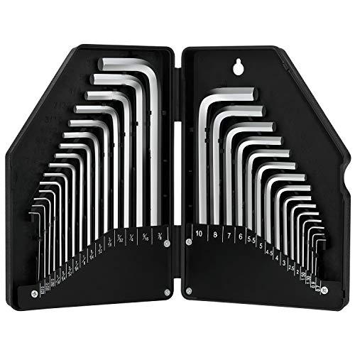 GALAX PRO Innensechskantschlüssel 30Pcs, Winkelschlüsselsatz, 15 Kurzarm(Metrisch): 0,7-10 mm, 15 Langarm (Zoll) : 0,028-3/8; präzise Größenmarkierung im Kunststoffkoffer-WLH041
