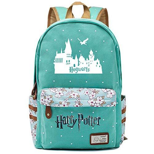 NYLY Harry Potter Blumenrucksack Hogwarts Rucksack, Jungen und Mädchen Mode Schultasche Notebook Tasche M (Hellgrün) Stil-21