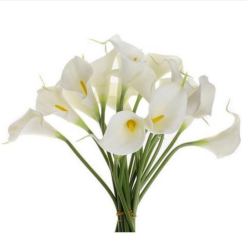Orangeskycn Lily Artificial Flowers, 10Pcs Mini Artificial Calla Wedding Flowers Bouquet Calla Lily Foam Decor (White)