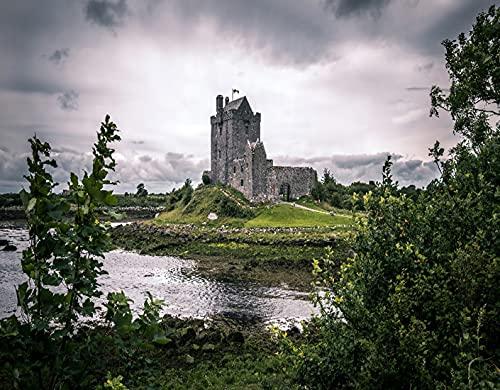 Kit de Pintura de Diamante 5D,Castillo de Dunguaire, Kinvara, Condado de Galway,Bordado Pinturas Fotos Bricolaje Artesanía para la Decor de la Pared del Hogar,20' x 16'