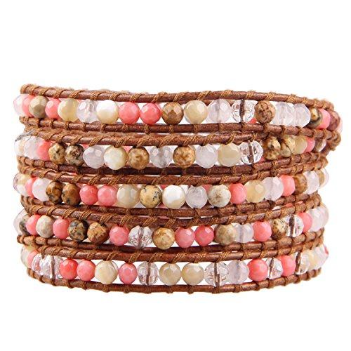 KELITCH Armband Männer Frau Picture-Jasper Rosa Koralle Stein Schale Perlen 5 Wickeln Armband Auf Braun Leder