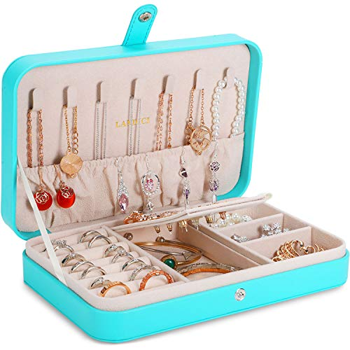 LANDICI Small Jewelry Box for Women GirlsPU Leather Travel Jewelry Organizer CasePortable Jewellery Storage Holder Display for Ring Earrings Necklace Bracelet Bangle Watch Mens Kids GiftLake Blue