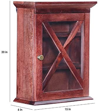 Shilpi Sheesham Solid Wood Wall Shelf with Out Glass Door/Crockery Holder (Brown)