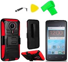 Holster Belt Clip + Hybrid Cover Phone Case + Screen Protector + Extreme Band + Stylus Pen + Pry Tool for ZTE Quest N817 Virgin Assurance QLink N-817 Legacy (Holster Black/Red)