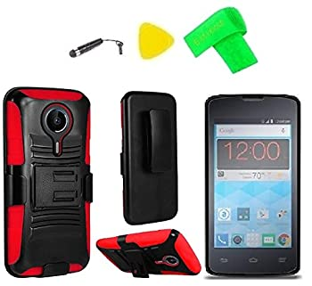 Holster Belt Clip + Hybrid Cover Phone Case + Extreme Band + Stylus Pen + Pry Tool for ZTE Quest N817 Virgin Assurance QLink N-817 Legacy  Holster Black/Red