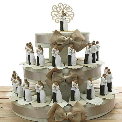 Viale Magico Bomboniere Matrimonio Statuina Sposini, Bomboniere Originali Promessa di Matrimonio, Pensierini Anniversario di Matrimonio (TR1213S) (Torta da 35 Pezzi)