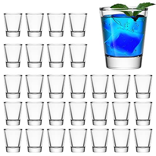 30 Pack Heavy Base Shot Glass Set, Aoeoe 1.5 oz Whiskey Shot Glasses, Clear Shot Glasses Bulk, Small...