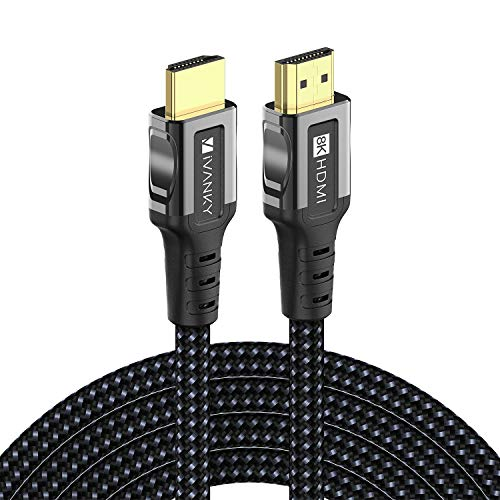8K HDMI Kabel 2M, iVANKY High Speed HDMI 2.1 Kabel unterstützt 3D, UHD 8K@60Hz und 4K@144Hz, HDR, HDCP 2.2, 48-Bit Deep Color und Ethernet für Blue-Ray-Player, Xbox, PS4 und mehr - Dunkelschwarz