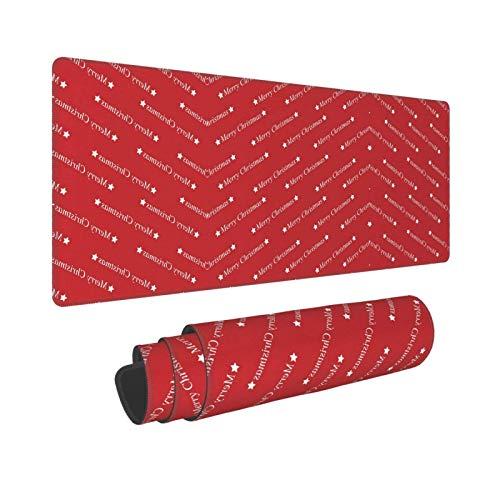 Alfombrilla de ratón con Borde de Bloqueo Personalizado con Tema navideño Rojo Alfombrilla de ratón para Ordenador portátil Base de Goma Antideslizante 30X80CM