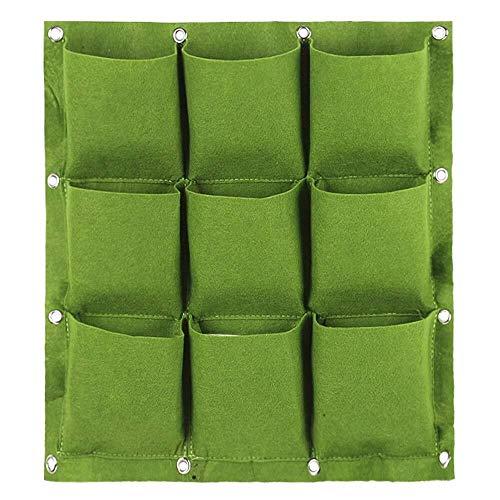 LHOME Plantation Sacs de Culture, for Mur Vertical Jardin Planteur 9/12/18 Poches Tissu imperméable et Respirante en Feutre Mur Culture Hanging Sac (Color : 9 Pockets, Size : Green)
