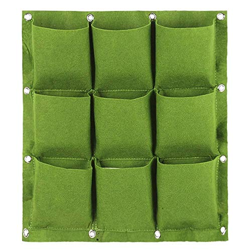 LHOME Plantation Sacs de Culture, for Mur Vertical Jardin Planteur 9/12/18 Poches Tissu imperméable et Respirante en Feutre Mur Culture Hanging Sac (Color : 9 Pockets, Size : Green)