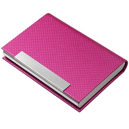 Business Card Holder, Business Card Case Luxury PU Leather & Stainless Steel Multi Card Case,Business Card Holder Wallet Credit card ID Case/Holder For Men & Women. (T-Rose red)