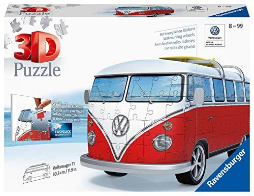 Ravensburger 3D Puzzle Volkswagen T1 - 3D Puzzle für Erwachsene und Kinder ab 10 Jahren, VW Bulli Modellauto, Modellbau ganz ohne Kleber