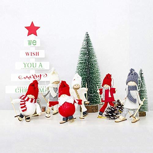 Lsmaa Navidad Felpa de los Ornamentos, árbol de Navidad Ornamento de la Tabla de Navidad Mini Esquí muñeca Partido casero Decoraciones for Colgar 5 (Size : 5#)