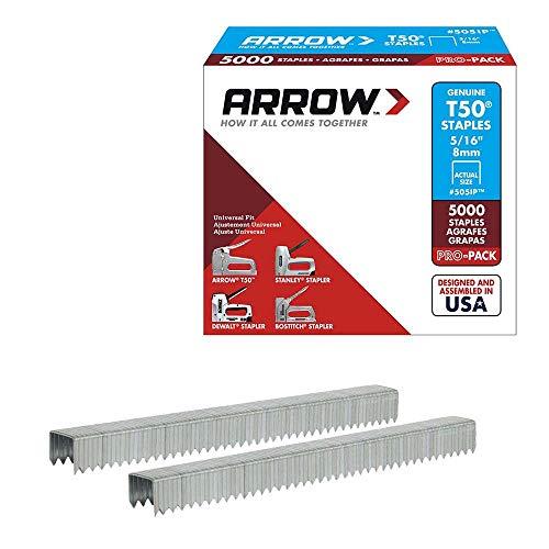 Arrow Fastener 505 2 Pack 5/16in. T50 Heavy Duty Staples, 1,250 Staples Per Pack