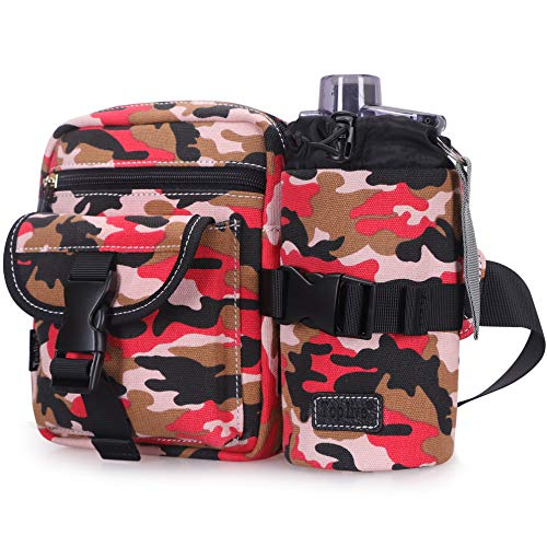 Toplive Fanny Pack Tactical Waist Bag for Women Men with Detachable Water Bottle Holder for Outdoor Workout, Hiking, Cycling, Hunting(Camo-Red)
