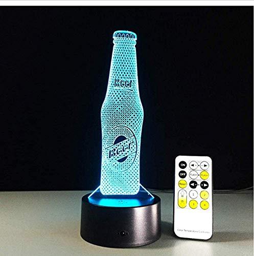 Acryl bierfles, 3D LED-nachtlampje, afstandsbediening, tafellamp, Kerstmis, Nieuwjaar, verjaardag, cadeaus, koffie, bar, sfeer, decoratie