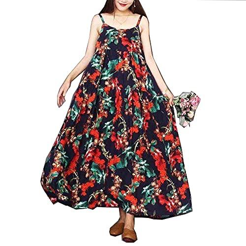Mgsda Mujeres Casuales Sueltos Bohemios Floral Estampado de Estampado de Espaguetis Correa Larga Maxi Verano Playa Vestido de Columpio,Color 2