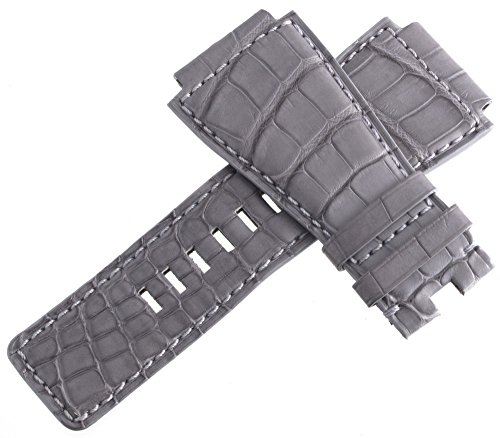 Bell & ROSS uomo grigio pelle Watch Band con fibbia in acciaio INOX, 24mm