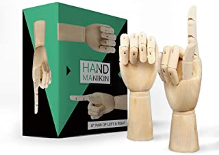 Wooden-Hand-Model-Posable-Drawing-Mannequin Wood Flexible Moveable Fingers Manikin Hand Artist Figure Left and Right Hand for Sketching Home Office Desk Joints Kids Children Toys Gift 8 INCH
