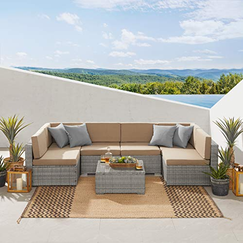 Art Leon 7 Piece Patio Furniture Sets, PE Wicker Rattan Outdoor Cushioned Sectional Sofa, Patio Conversation Sets with Tempered Glass Coffee Table(Khaki)