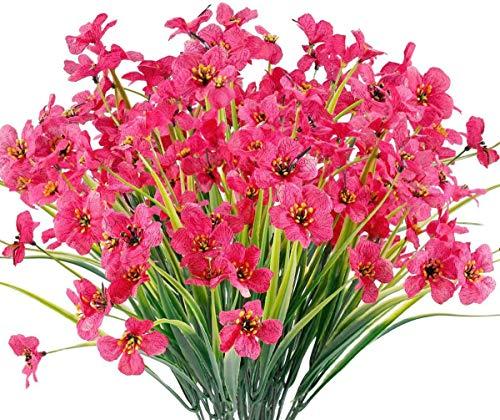 Chenguo 4 paquetes de flores artificiales para exteriores resistentes a los rayos UV, no se decolora, plantas de plástico sintético, decoración de jardín, boda, granja (rosa rojo)