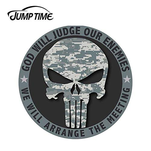 FAFPAY Car sticker 13cm x 13cm for god will judge our enemies vinyl sticker car truck window decal military camo car style skull graphicsLcai-6034